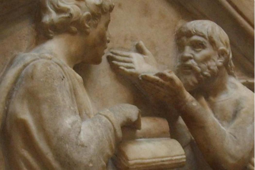 Plato and Aristotle, detail of a Luca Della Robbia sculpture. Wikimedia Commons.