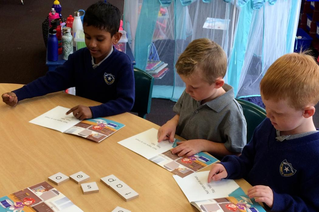 New entrants at St Mary's School, Mosgiel, Dunedin, learning to read using the B